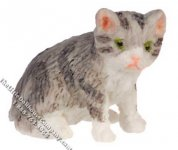 Miniature Light Gray Sitting Kitten for Dollhouses
