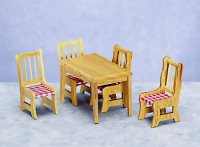 Dollhouse Miniature Kitchen Table and Chairs