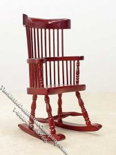 Miniature Mahogany Windsor Rocking Chair for Dollhouses