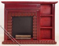 Miniature Mahogany Fireplace Wall Unit w/Shelves for Dollhouses