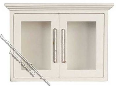 Miniature White Kitchen Upper Cabinet for Dollhouses