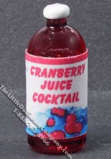 Miniature Bottle of Cranberry Juice for Dollhouses