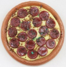 Dollhouse Scale Model Whole Pepperoni Pizza