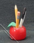 Miniature Apple Shaped Pencil Holder for Dollhouses