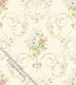 Dollhouse Scale Model Wallpaper Aurora Floral Pattern