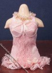 Miniature Pink Corset on Dress Form for Dollhouses