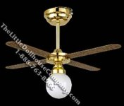 Miniature Ceiling Fan with Battery Operated Lamp for Dollhouses