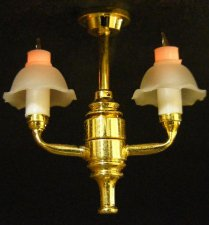 Dollhouse 1/2 Scale Model 2-Arm Bell Shade Chandelier
