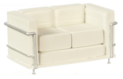 Miniature Modern White Sofa with Two Pillows