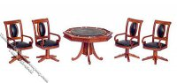 Miniature Walnut Gaming Table w/4 Chairs for Dollhouses