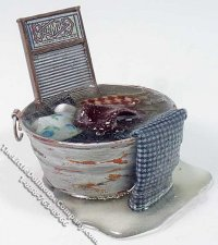 Miniature Overflowing Washtub & Washboard for Dollhouses