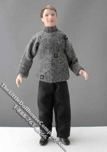 Man with Salt & Pepper Hair in Grey Sweater by Cindy's Dolls