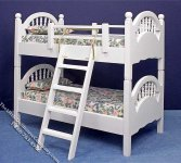 Miniature White Bunkbed with Ladder for Dollhouses