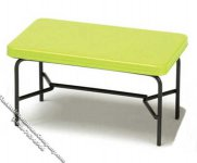 Miniature 1940's Style Green Metal Table for Dollhouses