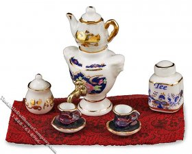 Miniature Porcelain Samovar Set for Dollhouses