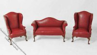 Miniature Three Piece Red Sofa & Chair Set for Dollhouses