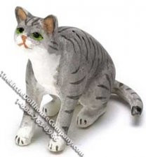 Dollhouse Scale Model Gray Striped Cat Sitting