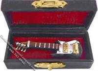 Miniature Electric Guitar and Case for Dollhouses