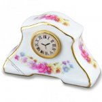Miniature Floral Pattern Mantel Clock For Dollhouses
