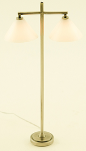 Dollhouse Miniature 12v Electric Modern Floor Lamp Round Double Shade Pewter