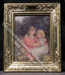 Miniature Painting of Two Girls in Metal Frame for Dollhouses