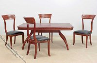 Miniature 5 Piece Walnut Dining Room Set for Dollhouses