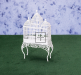 Dollhouse Scale Model Bird Cage - White Metal