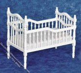 Miniature White Victorian Crib for Dollhouses