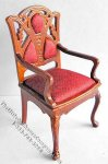 Miniature Walnut Art Deco Chair for Dollhouses