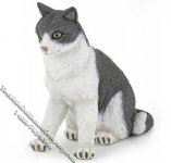 Dollhouse Scale Model Gray & White Cat Sitting Down