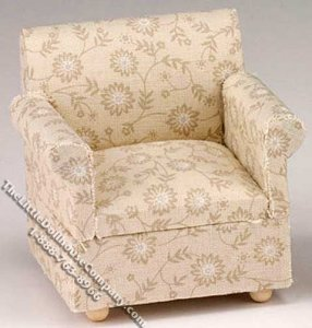 Miniature Beige Floral Pattern Chair for Dollhouses