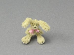 Dollhouse Scale Model Bunny with Bow