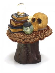 Miniature Dressed Small Round Wizard's Table w Tree Stump Base