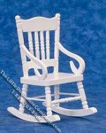 Miniature White Rocking Chair for Dollhouses