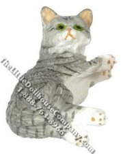 Dollhouse Scale Model Laying Gray Cat