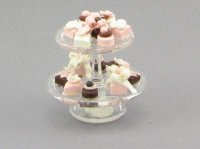 Dollhouse Scale Model Petits Fours on 2 Tier Plate