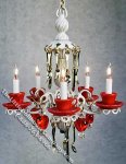 Dollhouse Scale Model Red Teacups Chandelier