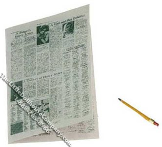 Miniature Newspaper Crossword Puzzle and Pencil for Dollhouses