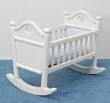 Miniature White Rocking Crib with BLue Linen for Dollhouses