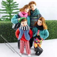 Four Person Family Flexible Dolls by Erna Meyer for Dollhouses