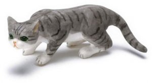 Dollhouse Scale Model Prowling Gray Cat