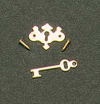 Chippendale Key Plate w/key for Dollhouse Scale Models 6/pkg.
