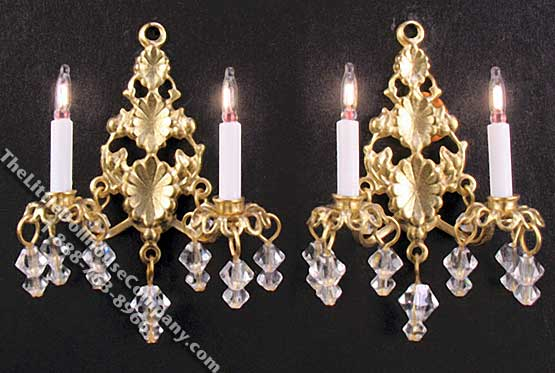 Dollhouse Scale Model Pair of 12v Princess Abigail Sconces - Click Image to Close