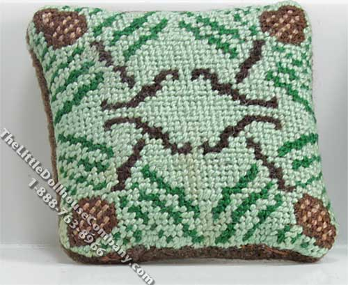 Dollhouse Scale Model Green & Brown Pillow - Click Image to Close