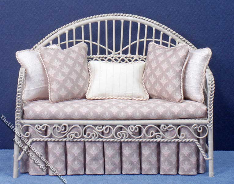 Miniature Metal Wire Lavender Settee for Dollhouses