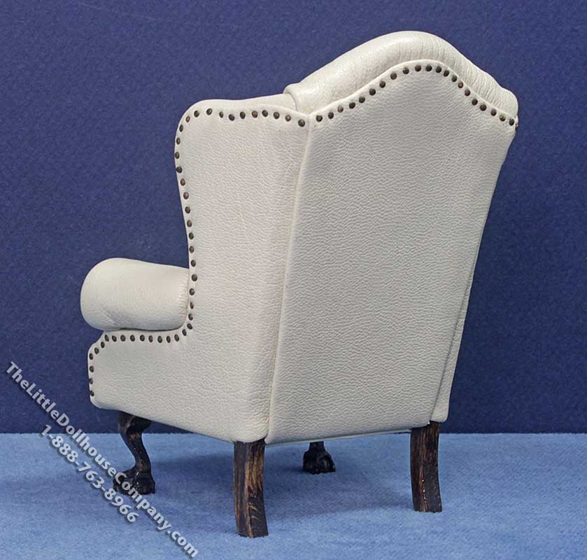 Miniature Cream Leather Wing Chair By Judith Blondell Jbd