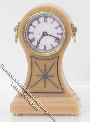 Miniature 1/2 Scale Pine Mantle Clock for Dollhouses