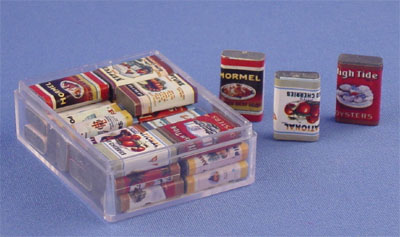 Dollhouse Miniature Country Store Grocery Tins - Click Image to Close