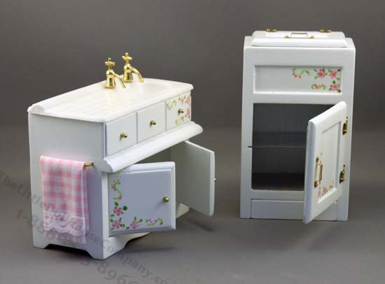 Dollhouse Miniature Kitchen Set (7pc) with Ice Box - Click Image to Close